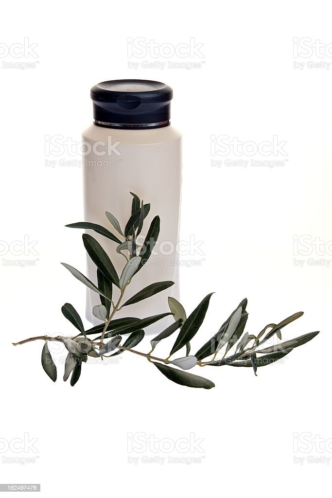 shampoo and olive branch royalty-free stock photo