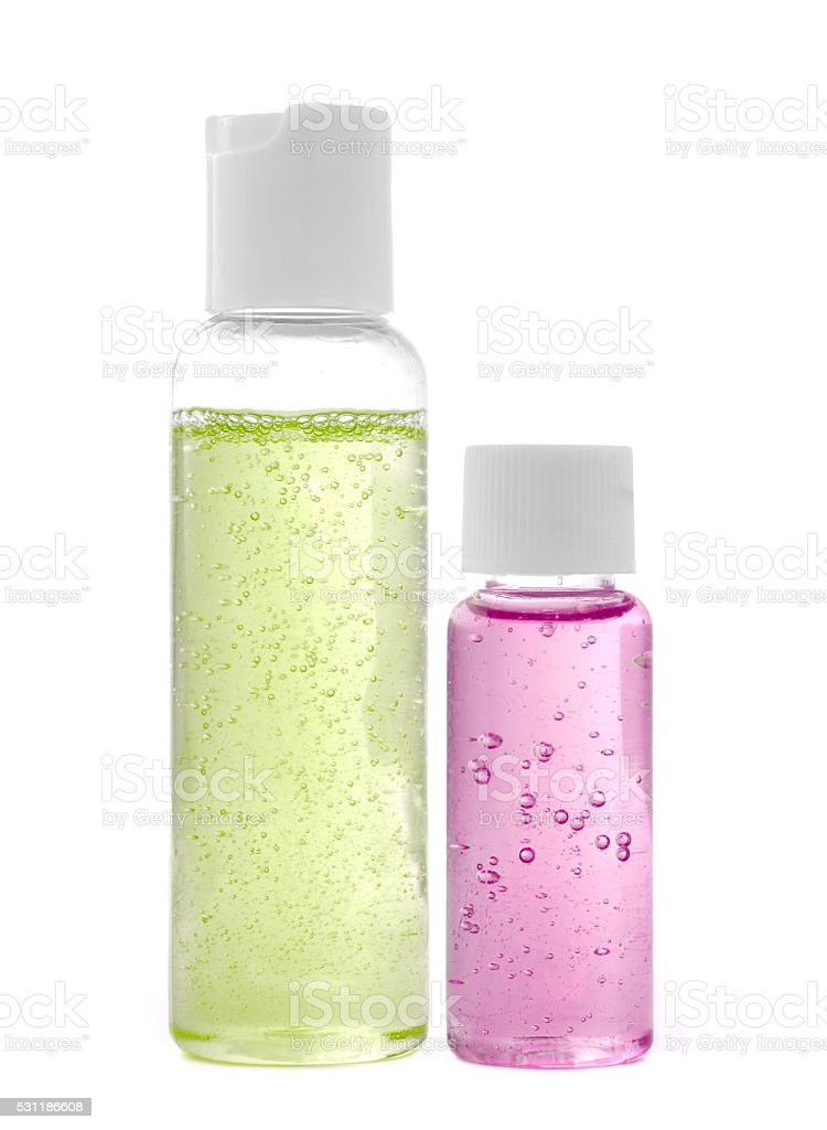Shampoo and shower gel stock photo