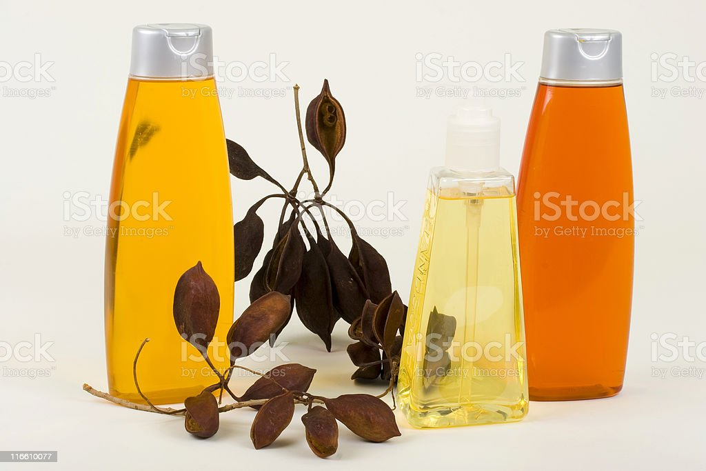 Shampoo, Conditioner And Hand Soap With Seeds In Pods royalty-free stock photo