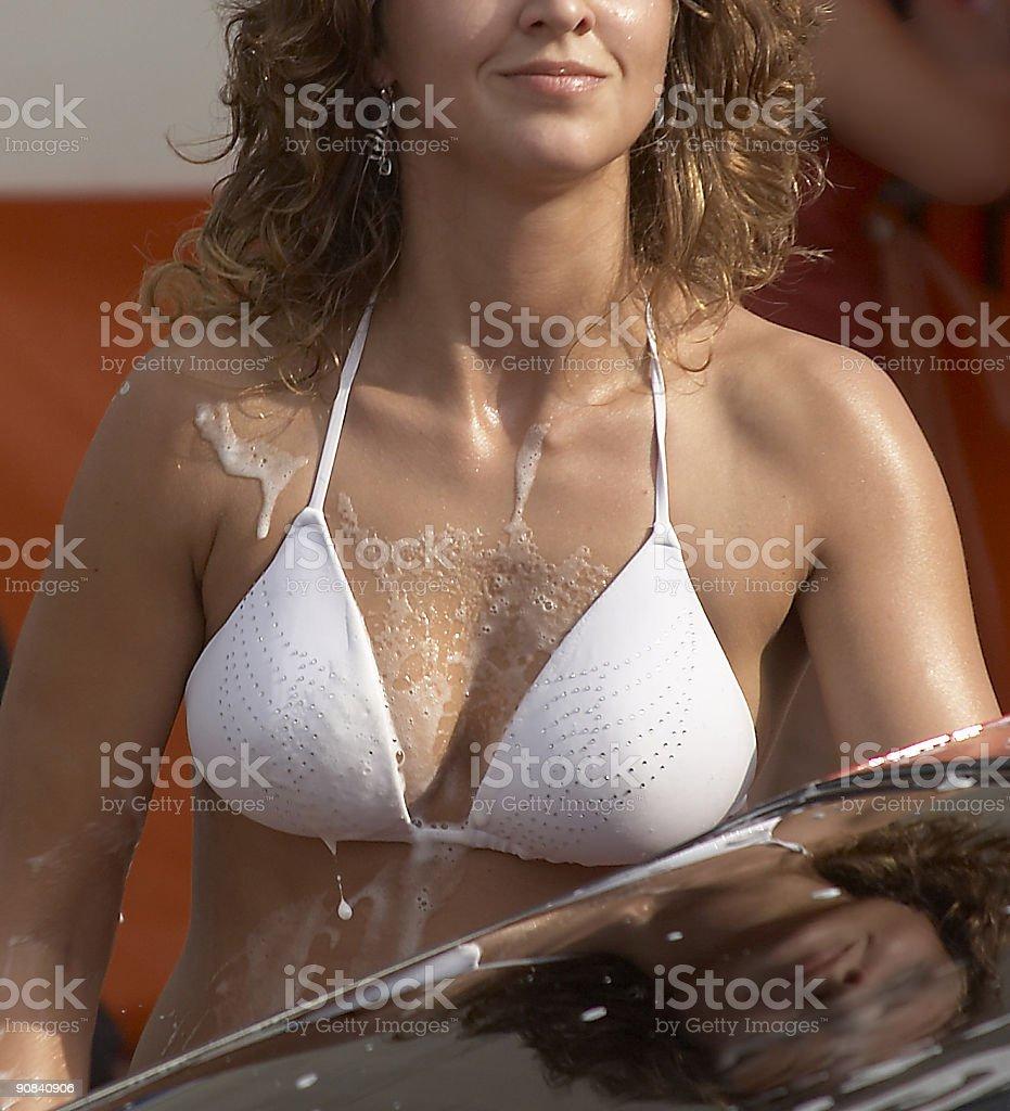 shampoo on breast stock photo