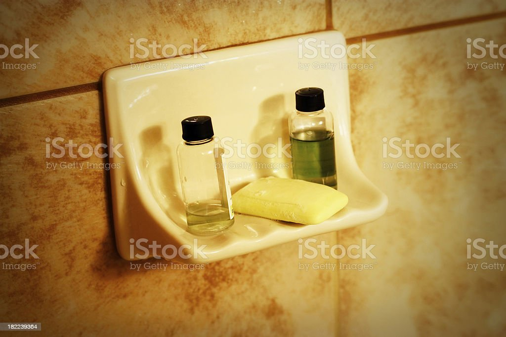 Shampoo & Soap in Hotel Shower Stylized royalty-free stock photo