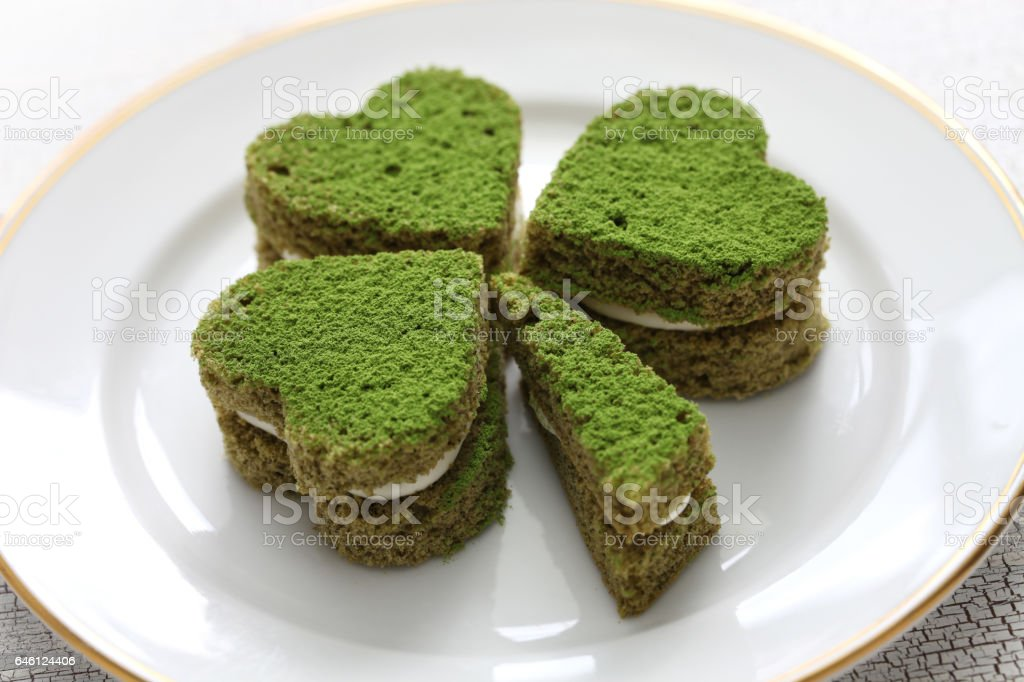 shamrock green cake, homemade dessert for saint patrick's day stock photo