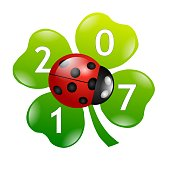 shamrock ladybug 2017 new year isolated