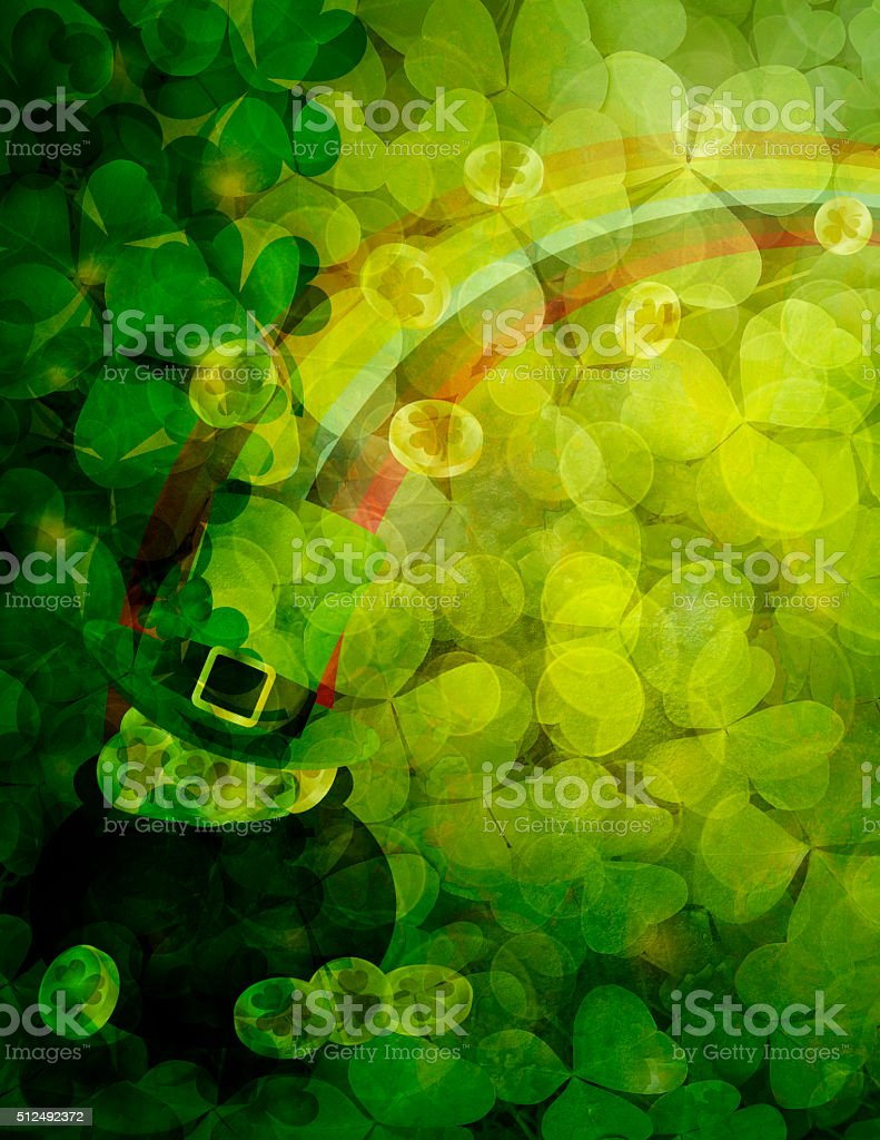 Shamrock Leaves Background with Pot of Gold Illustration stock photo