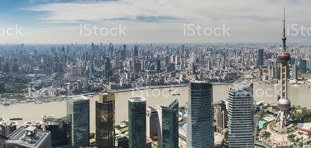 Shanghai aerial cityscape panorama Pudong The Bund China royalty-free stock photo