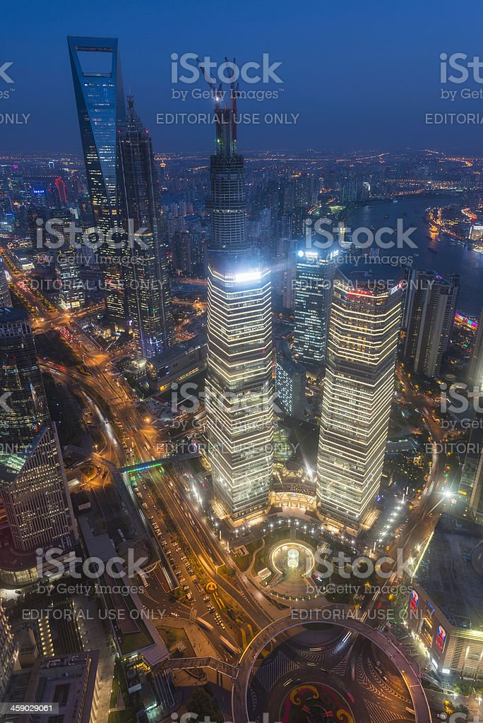 Shanghai aerial view over futuristic skyscrapers of Pudong royalty-free stock photo