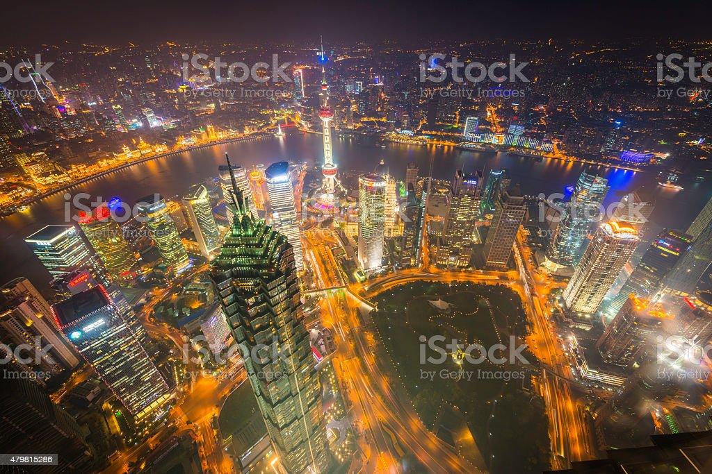 Shanghai aerial view over Pudong skyscrapers illuminated neon night China stock photo