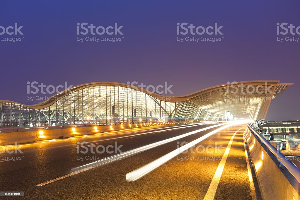 Shanghai airport picture in motion royalty-free stock photo