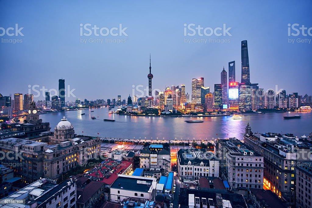 Shanghai at night,china stock photo