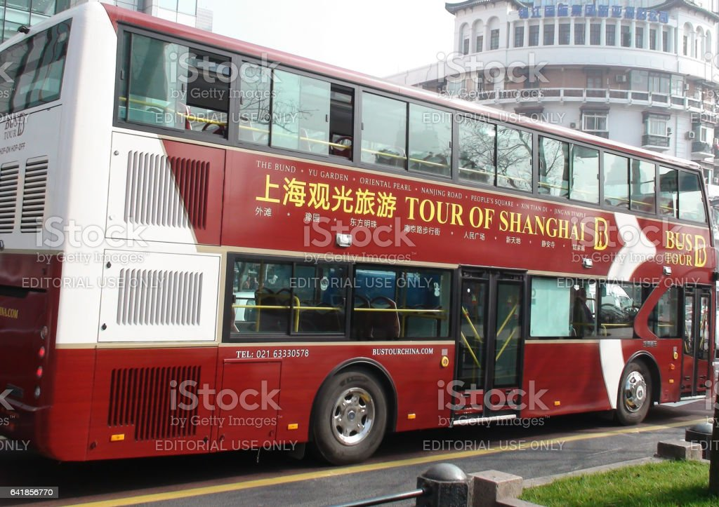 Shanghai Big Bus Tour On The Road In China stock photo