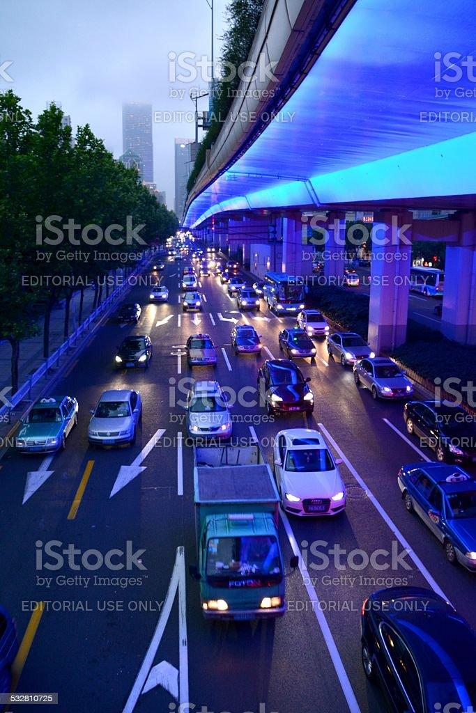Shanghai blue Highway stock photo