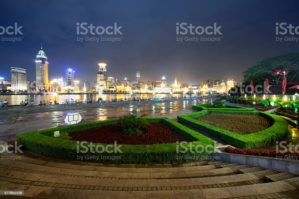 Shanghai bund at night. stock photo