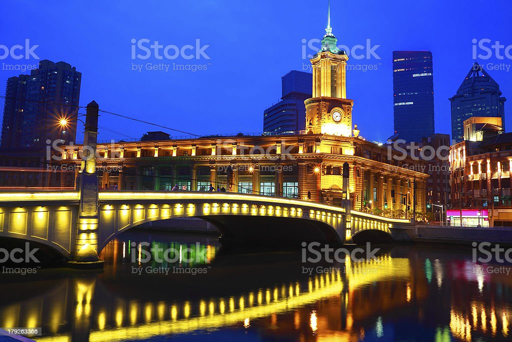 Shanghai Bund European ancient buildings of night royalty-free stock photo