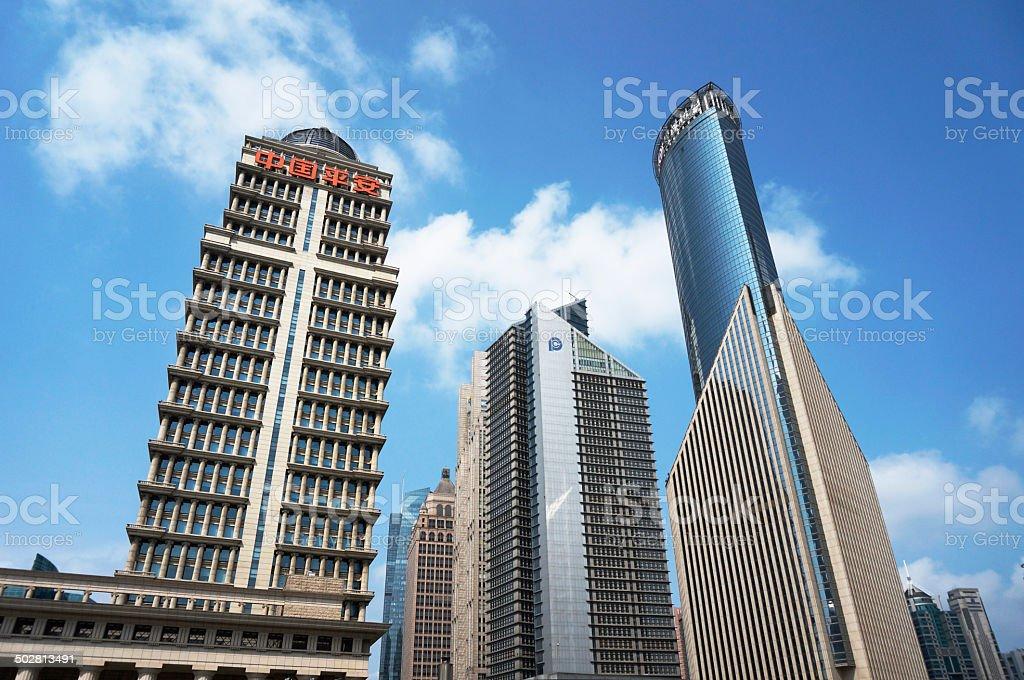 Shanghai bund financial architecture stock photo