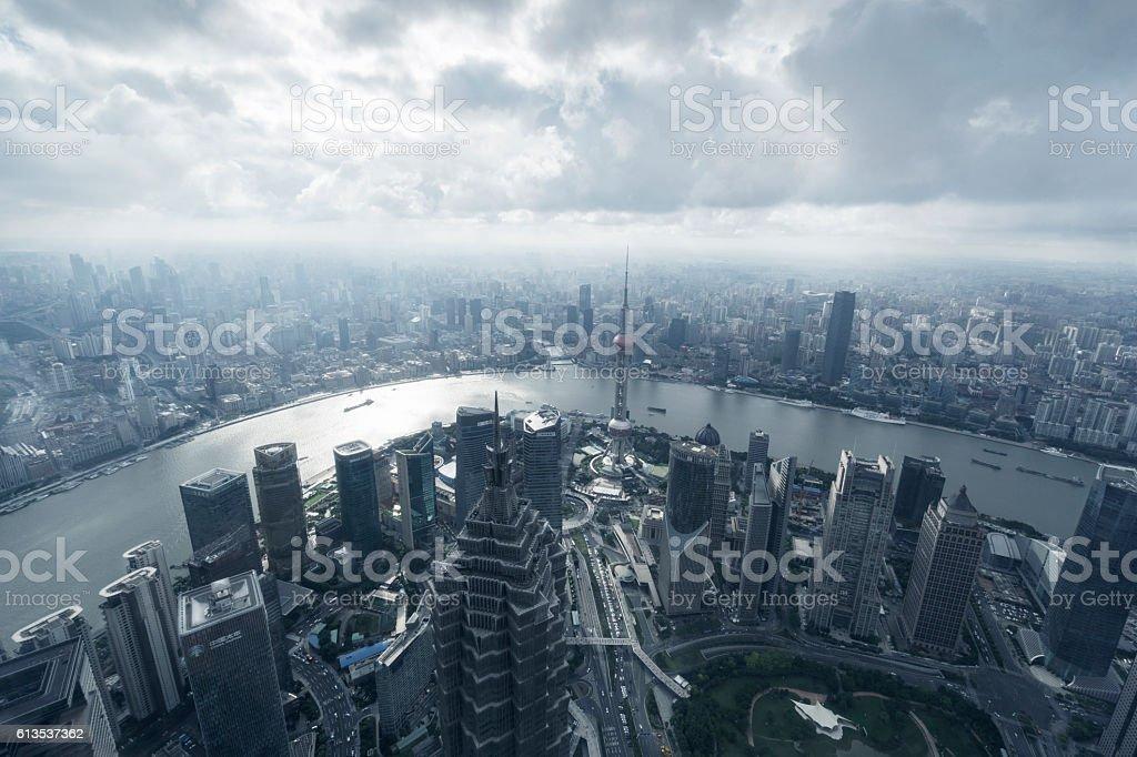 Shanghai bund high angle view stock photo