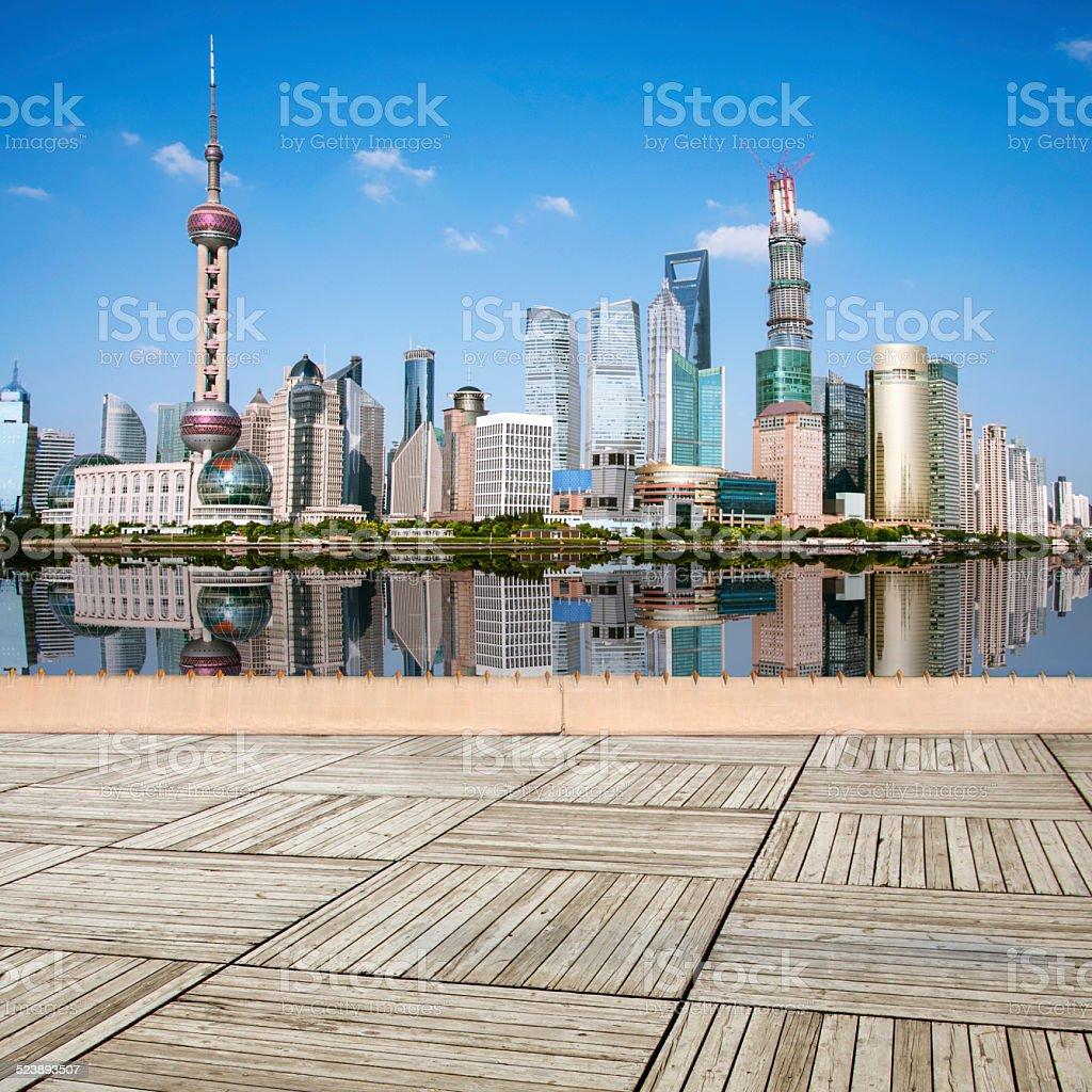 Shanghai bund skyline at dawn city landscape stock photo
