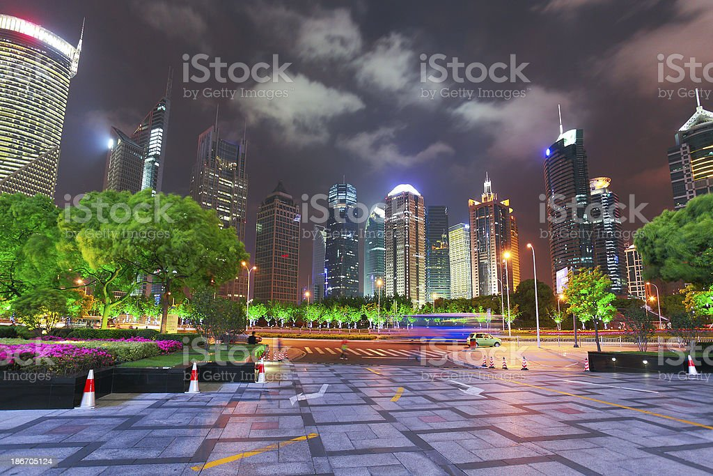 Shanghai China, at night royalty-free stock photo