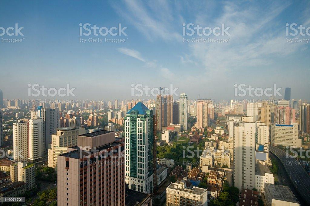 Shanghai, China Skyline, Blue Sky, Layer of Haze royalty-free stock photo