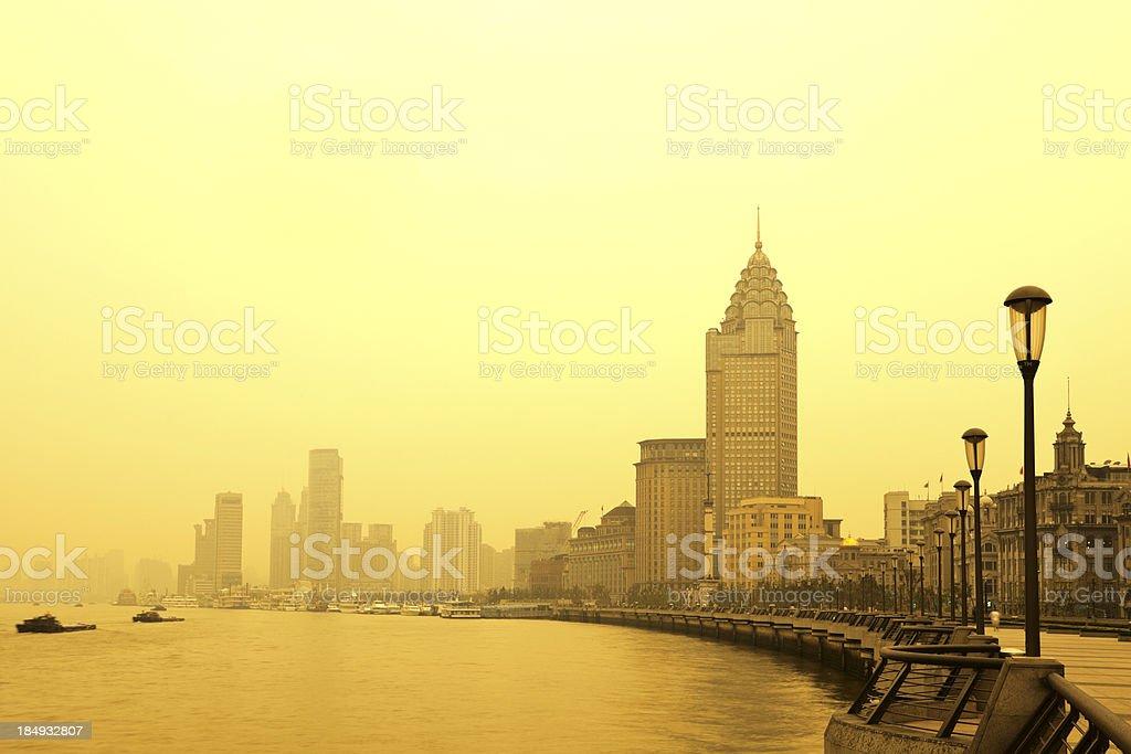 Shanghai, China's Puxi and Huangpu River at sunset royalty-free stock photo