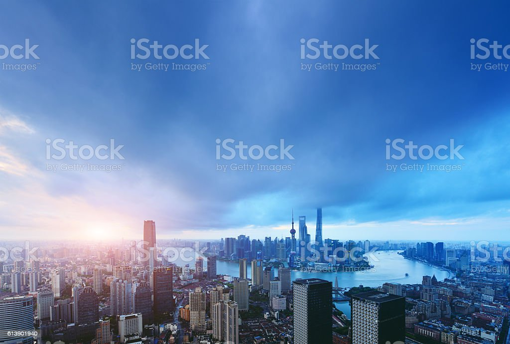 Shanghai City and Skyline in Morning stock photo