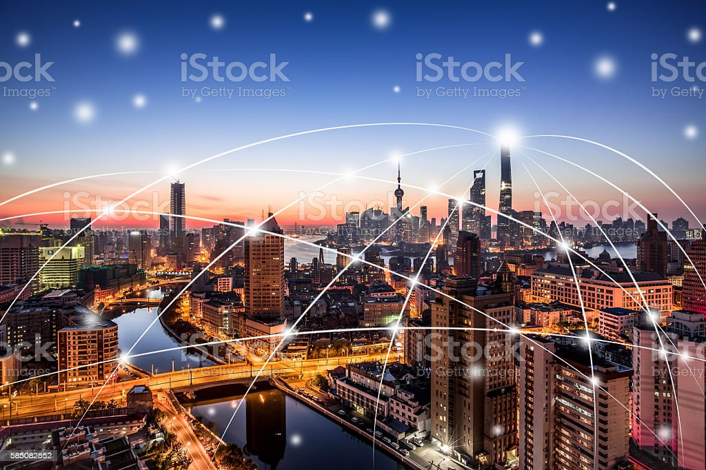 Shanghai city connection network stock photo