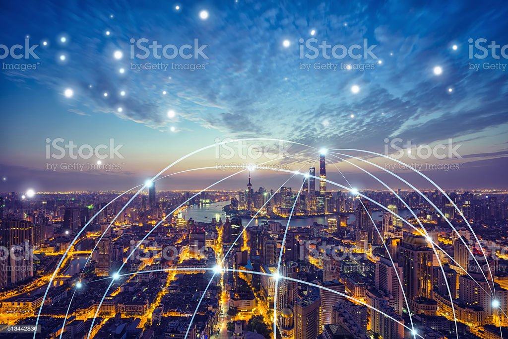 Shanghai city network technology stock photo