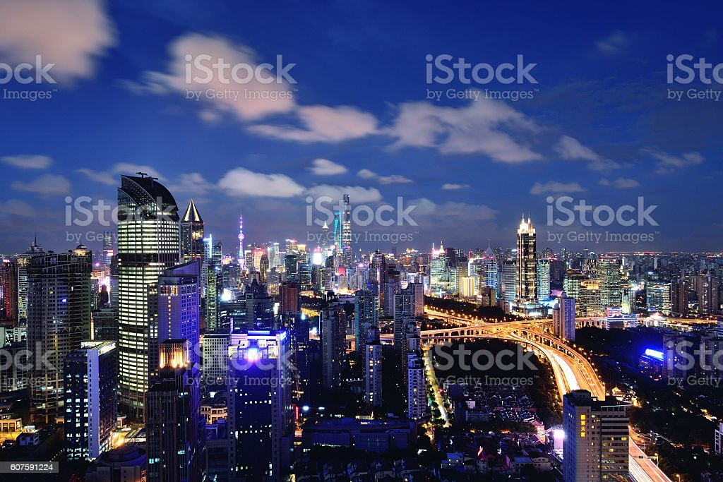 Shanghai City Panoramic at Night stock photo