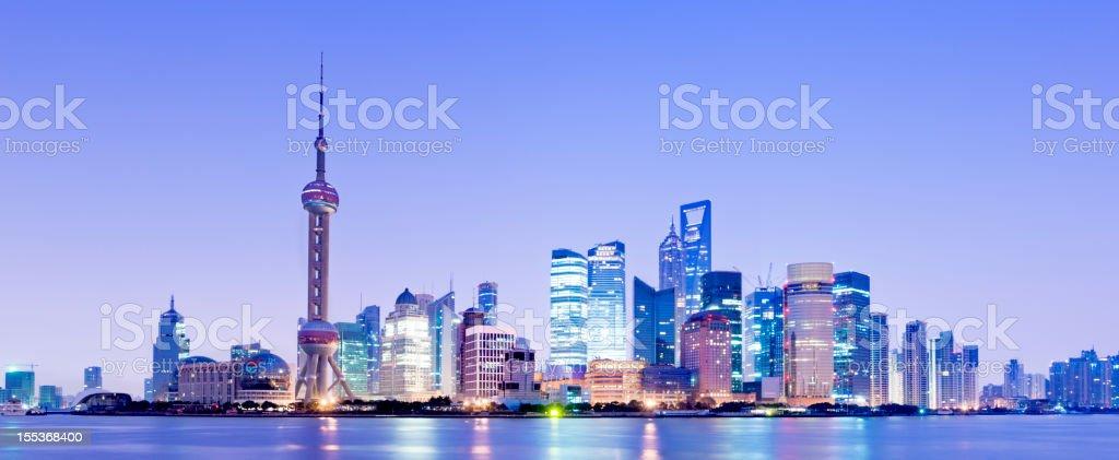 Shanghai City Skyline at Night China stock photo
