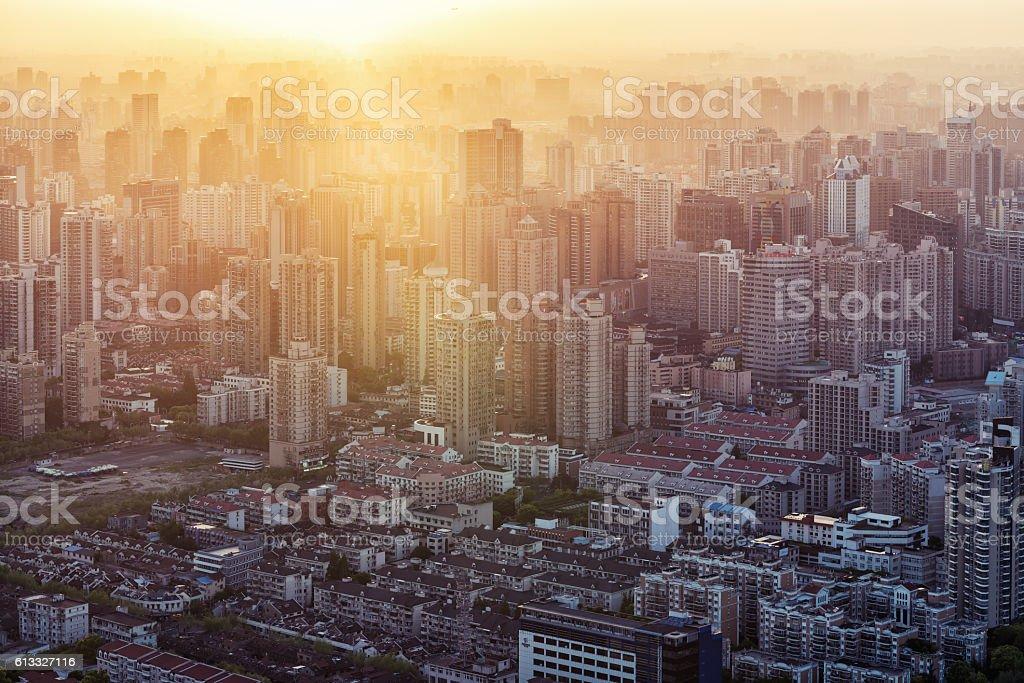 Shanghai city skyline in sunset stock photo