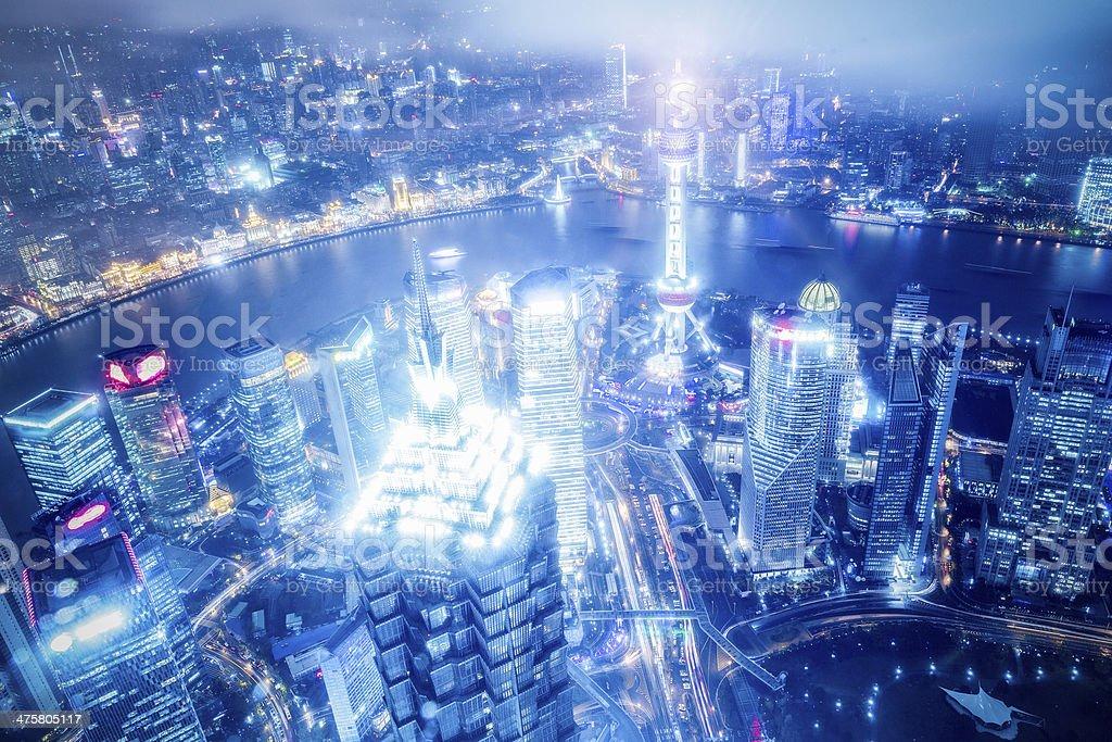 Shanghai Cityscape at Night royalty-free stock photo