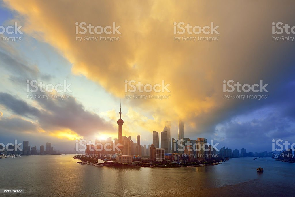 Shanghai Cityscape Skyline at Sunrise stock photo