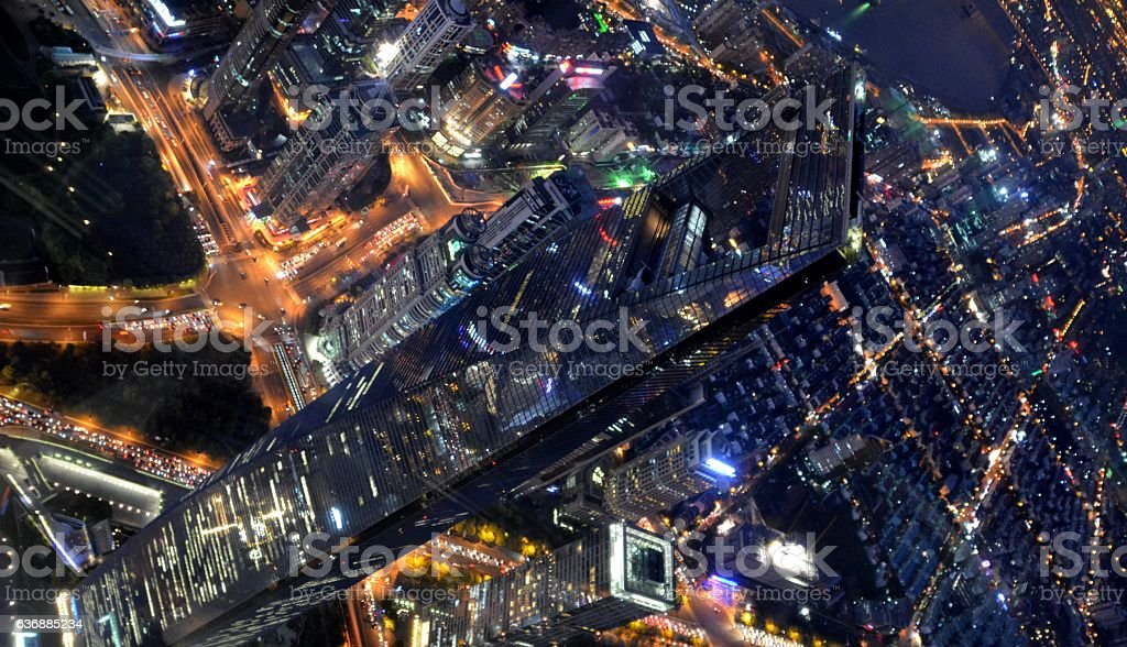 Shanghai cityscape, viewed from Shanghai Tower observation deck stock photo