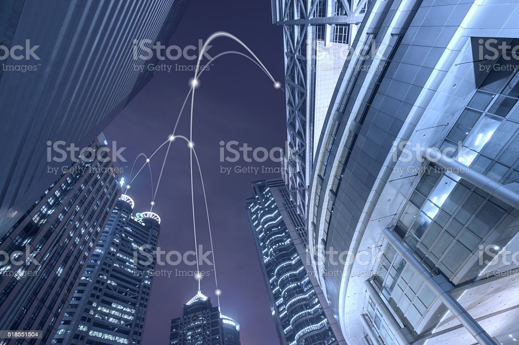 shanghai Financial District at night, stock photo