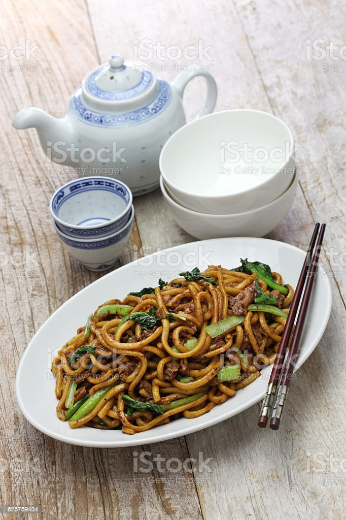 Shanghai fried noodle, Shanghai chow mein, chinese food stock photo