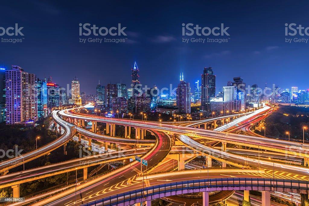 Shanghai Highway and skyline stock photo