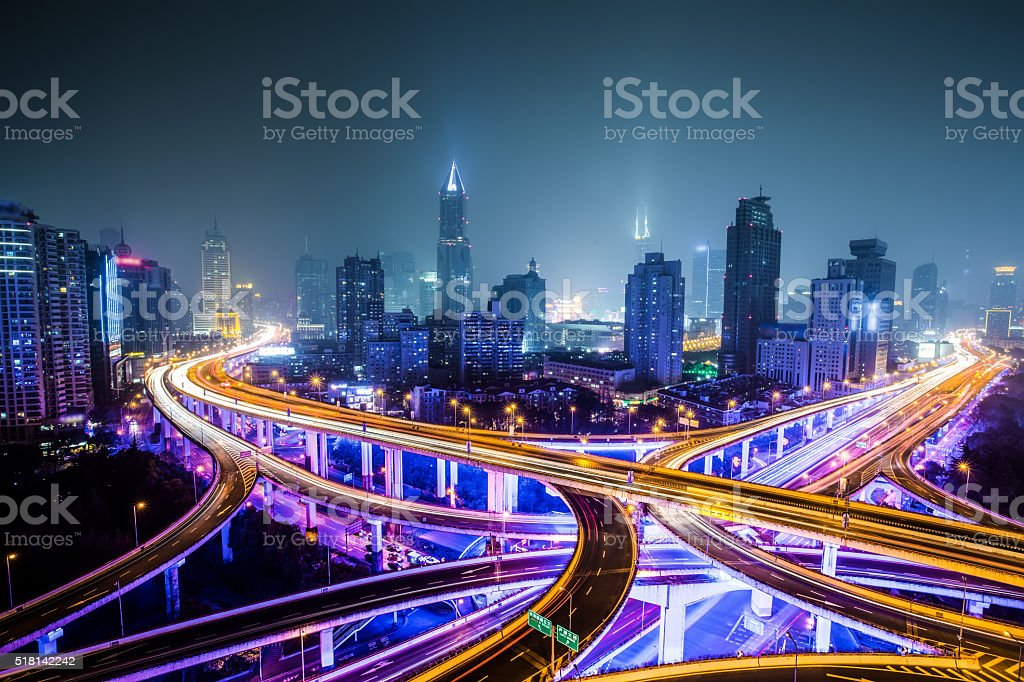 Shanghai Highway at Night stock photo