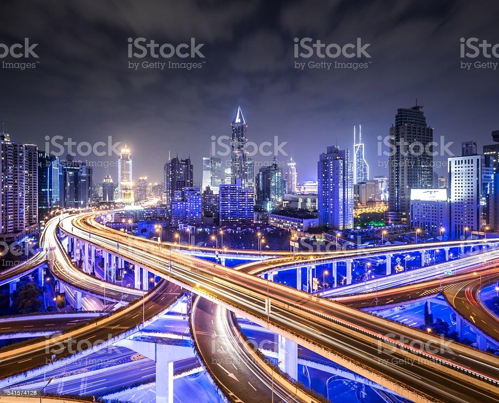 Shanghai Highway at Night stock photo