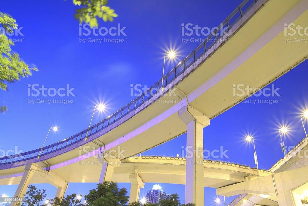 Shanghai highway viaduct Beautiful city night royalty-free stock photo