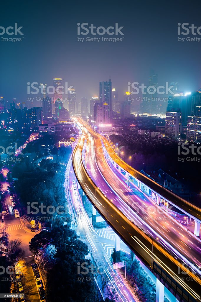 Shanghai highway with moving cars stock photo