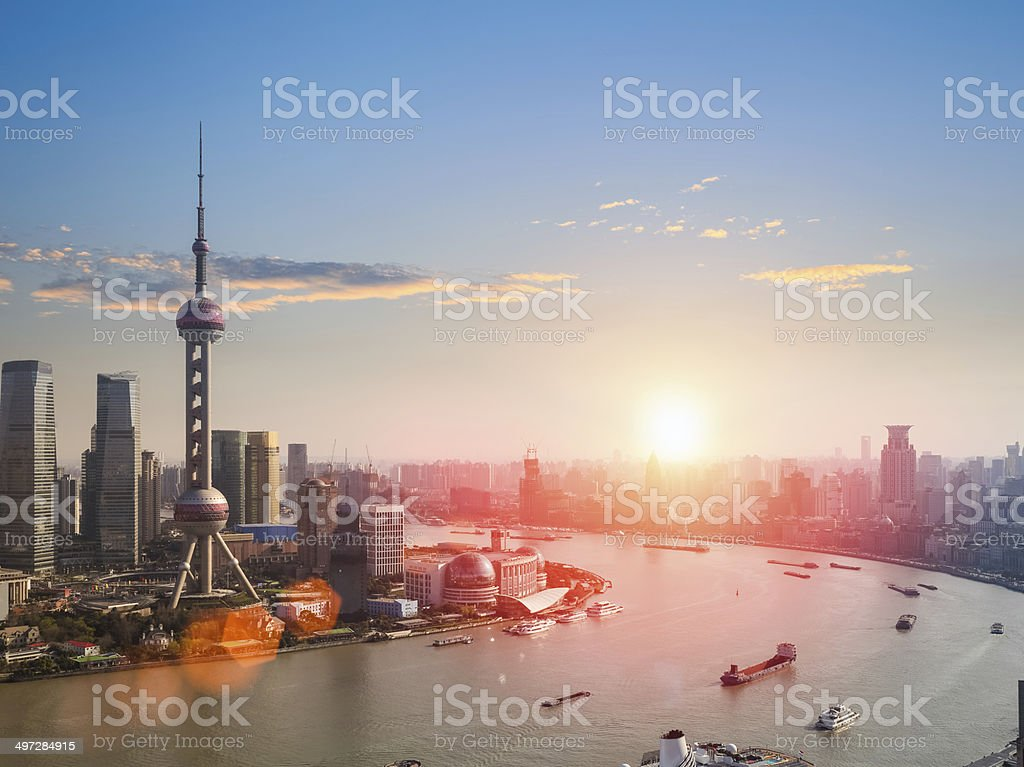 shanghai  in a beautiful dusk stock photo