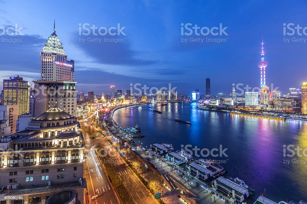 shanghai in a beautiful dusk stock photo