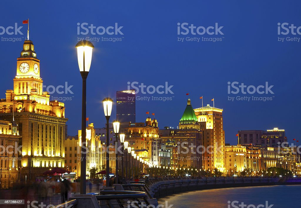 Shanghai in the night time. View from a bund stock photo