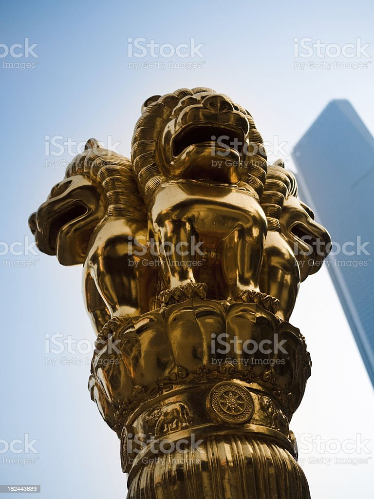 Shanghai Lions Statue royalty-free stock photo