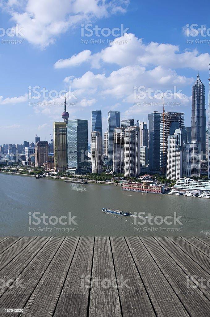 shanghai lujiazui financial center aside the huangpu river. stock photo