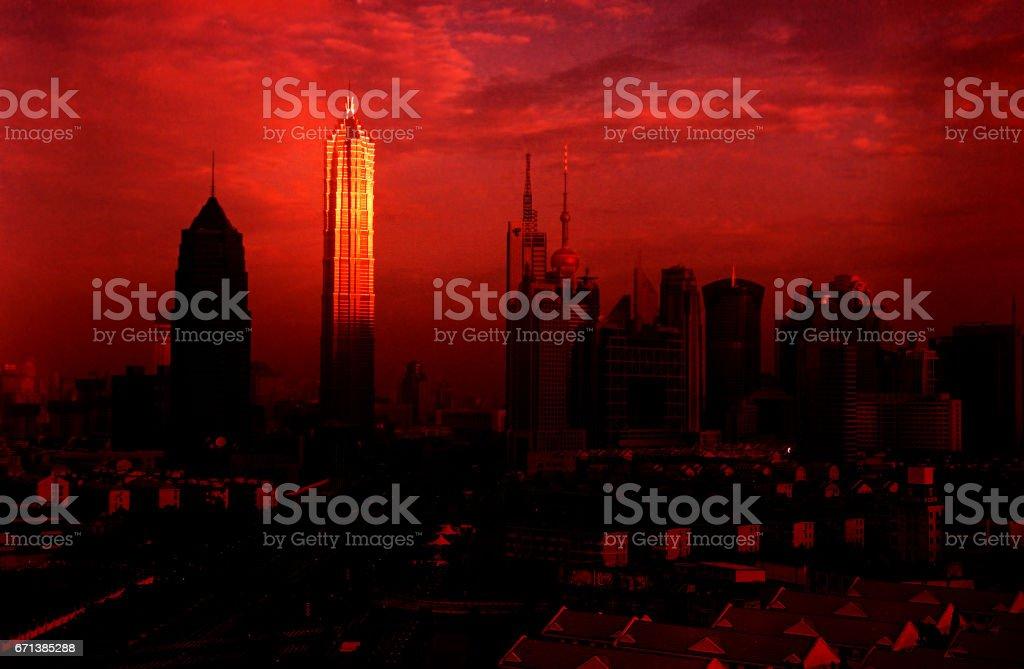 shanghai lujiazui morning jinmao tower stock photo