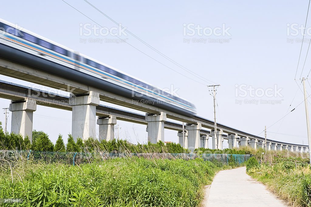 shanghai: maglev train travels at top speed stock photo