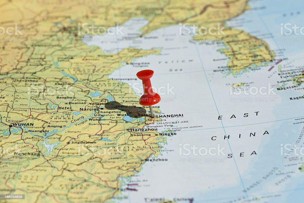 Shanghai Marked on Map with Red Pushpin stock photo