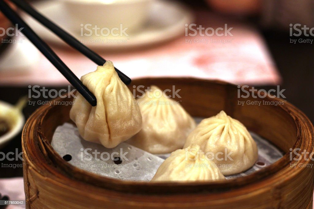 Shanghai mini bun Xiao Long Bao, Chinese food stock photo