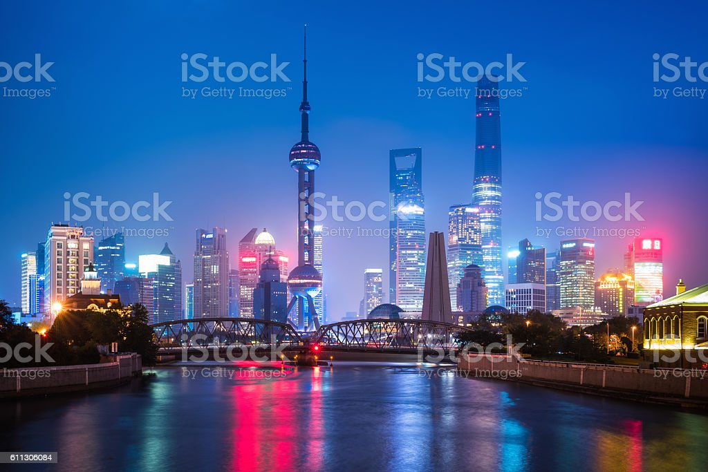 Shanghai modern illuminated Skyline at dusk stock photo