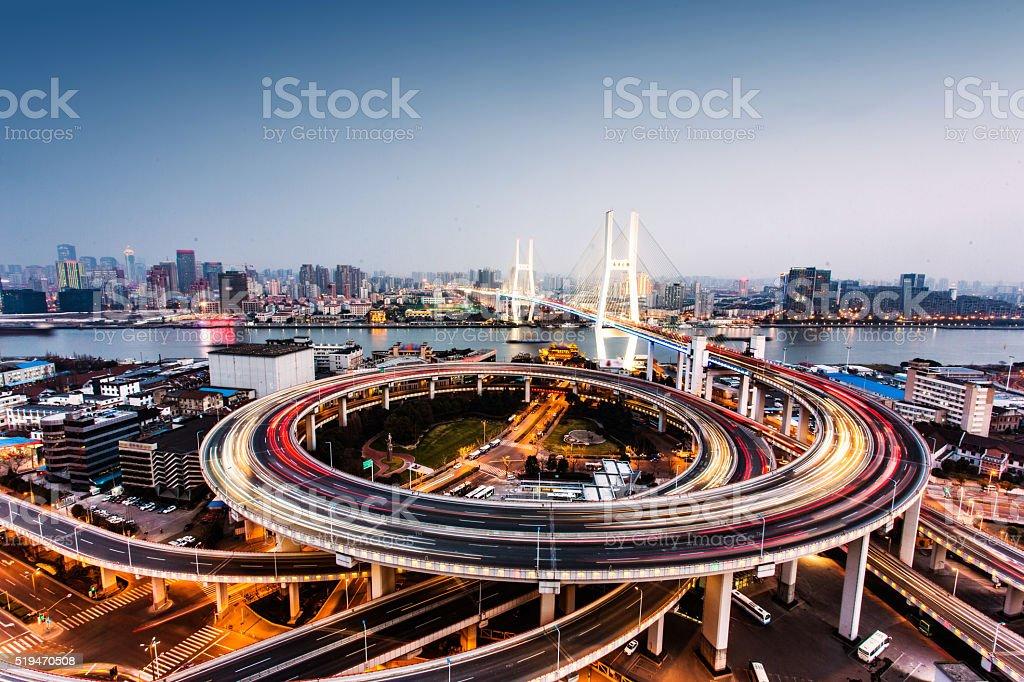 Shanghai nanpu bridge at night stock photo